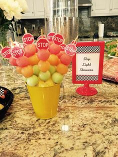 Yummy melon stop lights at a race car birthday party! See more party ideas at CatchMyParty.com!