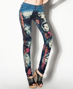 Unique Skinny Jeans with Head Print