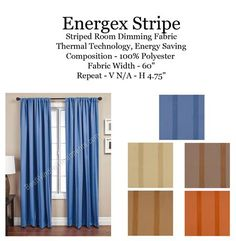 Sewn in USA! Ready-made Energex Stripe Self Lined Blackout Curtain Panel : add grommets or back-tabs to your curtains : Colors in blue, champagne, seafoam, papaya orange and brown wheat colors