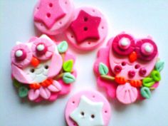 Button Pink Owls polymer clay handmade button set by digitsdesigns