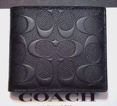 NWT Coach $185 Men's Signature Black Crossgrain Leather Compact ID Wallet F75371
