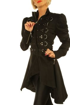 Black Steampunk Ladies Gothic coat jacket top with studs top