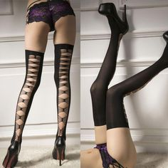 5ab516094ff Women Hollow Lace Top Stay Up Thigh High Stockings Pantyhose Long Socks  Black
