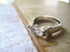 herkimer diamond ring handmade crystal clear gems sterling silver band handforged womens jewlery  size 7
