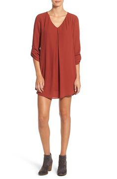 Love the color and breezy fabric on this dress for fall. Perfect with booties!