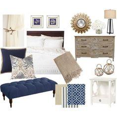 Navy Blue and Khaki Bedroom: