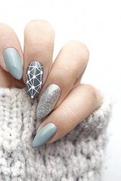 Grey Nail Designs For Summer. Nail styles or nail art is definitely a hassle-free process - patterns or art that is utilized to beautify the finger or toe nails. They are used mostly to further improve an outfit or brighten up a daily look. Shiny Nails, My Nails, Cute Nails, Pretty Nails, Local Nail Salons, Finger, Snowflake Nails, Round Nails, Easter Nails