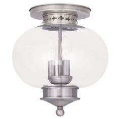 Harbor Brushed Nickel Hand Blown Seeded Glass Three Light Ceiling Mount Livex Lighting Sem