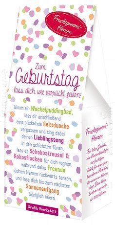 Zum Geburtstag - Fruchtgummi-Herzen - Grafik Werkstatt Bielefeld