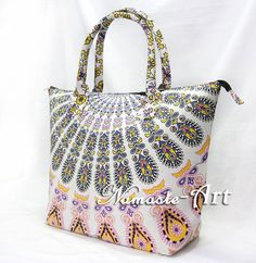 Indian Women's Designer Shopping Handbag 100% Cotton Handmade Carry Mandala Bag  #Namasteart #TotesShoppers