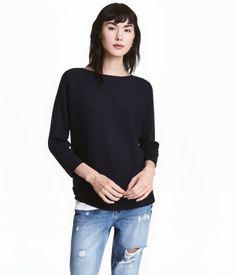Ribbstickad tröja | Mörkblå | Dam | H&M SE
