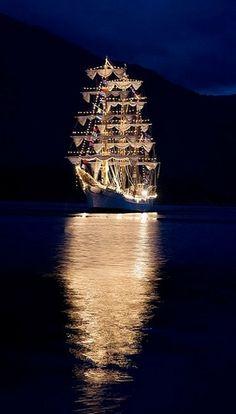 Stunning ship lit up at night!*