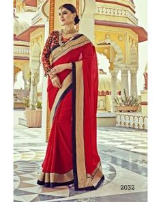 Red Satin Silk Partywear Saree