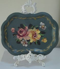 AQUA TOLE TRAY -  Painted Roses Floral -