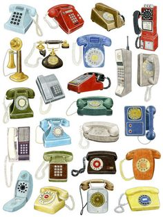 24 Telephone Drawings by Christine Berrie