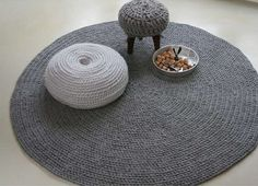 crochet puff and carpet