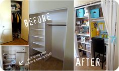 craft closet with lots of organizing ideas for small spaces