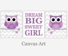 Baby Girl Nursery Art Purple Lavender Gray Grey by CadenRossCanvas