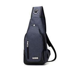 Oxford Casual Sling Bag Men Women Chest Bag USB Place Crossbody Shoulder Bag