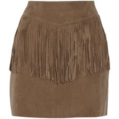 W118 by Walter Baker Riley fringed suede mini skirt (255 CAD) ❤ liked on Polyvore featuring skirts, mini skirts, tan, panel skirt, tan skirt, short mini skirts, fringe mini skirt and brown suede skirt