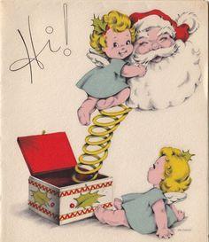 "Vintage Santa Christmas Greeting Card....Santa Claus ""Jack in The Box"" with 2 Angels, Christmas card"
