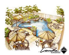Poolscape Landscaping Illustration by Lanoha Nurseries Omaha, via Flickr