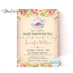 Baby Shower Tea Party Invite Invitation - Vintage Peach Background - Tea Party Invite - Printable No.883 by AfterFebruary on Etsy https://www.etsy.com/listing/218895520/baby-shower-tea-party-invite-invitation