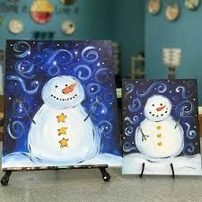 Картинки по запросу step by step directions on how to paint a snowman on canvas
