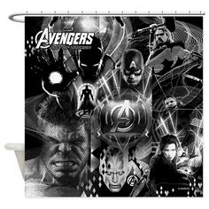 Age Of Ultron Black And White Marvel Shower Curtain From The Superhero Category At RodsAndCurtains