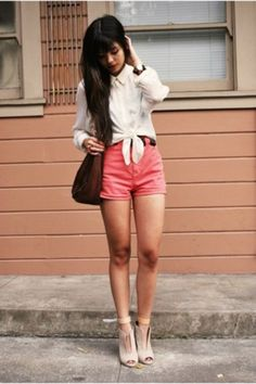 Colored Shorts + White Top! ♥