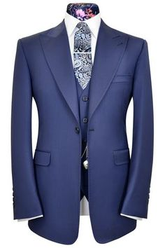 Prussian blue venetian three piece peak lapel suit