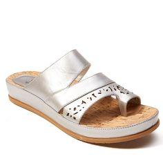 PureSole™ Caroline Leather Toe-Loop Slide Sandal - Metallic