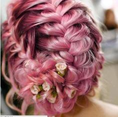 101 Pink Hair Ideas You'll Love @stylecaster | Love pink hair with flower accessories