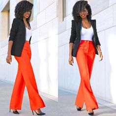 Structured Blazer x Wide Leg Pants. Link in bio for outfit details. New Outfits, Dress Outfits, Cute Outfits, Dresses, Work Outfits, Corporate Outfits For Women, Suits For Women, Clothes For Women, Style Pantry
