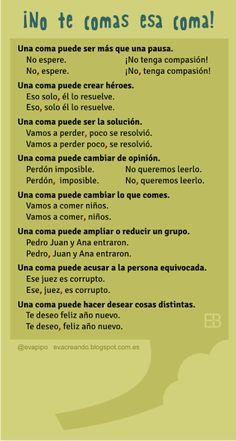 Spanish writing skills: the importance of the comma. Spanish Grammar, Spanish Vocabulary, Spanish Words, Spanish English, Spanish Language Learning, Spanish Teacher, Spanish Lessons, Teaching Spanish, Teaching Resources