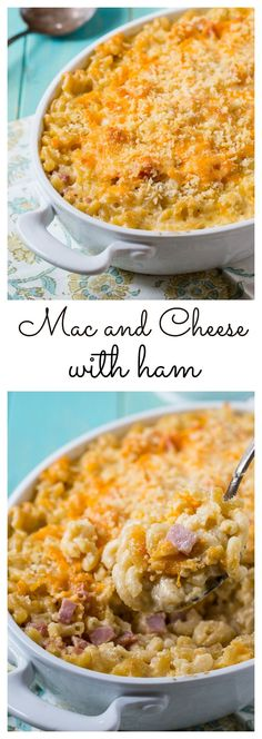 Creamy baked Mac and Cheese with Ham A creamy cheesy macaroni and cheese with diced ham and a buttery panko crumb topping. Ham Mac And Cheese, Baked Mac And Cheese Recipe, Mac And Cheese Casserole, Ham Casserole, Mac Cheese Recipes, Casserole Recipes, Cheddar Cheese, Leftover Ham Recipes, Baked Ham