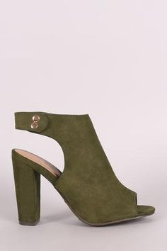 1b4ddabf8e3 Bamboo Suede Peep Toe Chunky Mule Heel Shoe Boutique