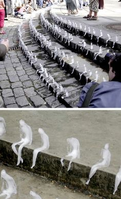 In 2009 Brazilian artist Nele Azevedo carved 1,000 Melting Men out of ice and placed them in Berlin's Gendarmenmarkt Square to bring awareness to Global Warming. As part of the Festival of Queens in northern Ireland, she created a similar installation to visually remind people of the melting ice caps in Greenland and Antartica.