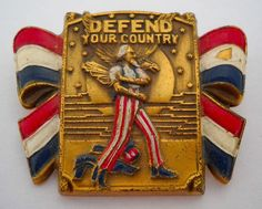 #Vintage #1940s #Designer #CORO #DefendYourCountry #UncleSam #WWII #Brooch #Pin #Army #Painting #Poster