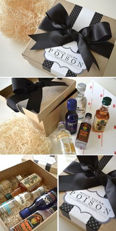 groomsmen gifts. pick your poison.