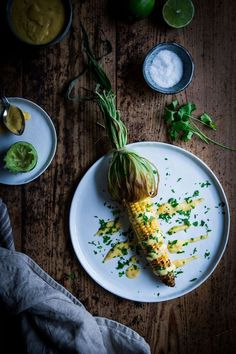 corn on the cob with mango lime sauce.