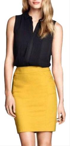 Yellow Skirt Outfits, Yellow Mini Skirt, Yellow Pencil Skirt, Black Pleated Skirt, Mustard Skirt, Mustard Yellow, Tutu, Professional Outfits, High Waisted Skirt