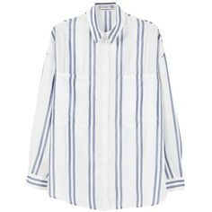 Mango Oversized Striped Shirt, Navy/White (2.420 RUB) ❤ liked on Polyvore featuring tops, shirts, striped shirt, oversized white shirt, striped long sleeve shirt, collared shirt and long sleeve tops