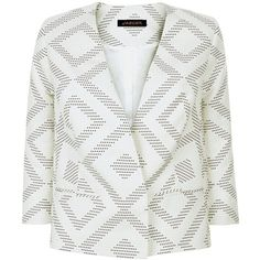 Jaeger Diamond Jacquard Jacket, Ivory/Navy ($185) ❤ liked on Polyvore featuring outerwear and jackets