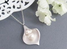 Calla Pendant Necklace Valentines Gift Lariat by LeCharmeJewelry, $23.95