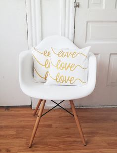 Gold Painted Love Love Love Pillow Cover by hellosleepywhale, $25.00
