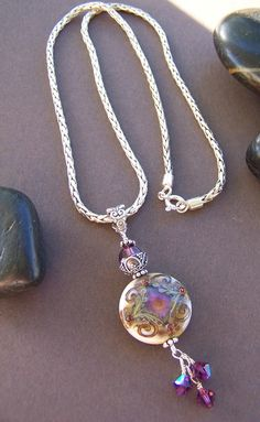 Jewel Necklace Lampwork Glass Bead Sterling Silver Pendant Necklace.