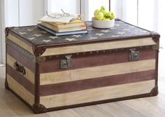 Love this Pottery Barn trunk! Just got a old beat-up trunk that I think I will redo to look like this!