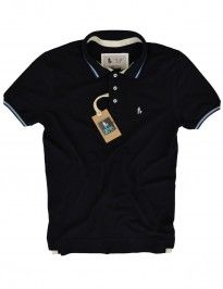 Camisa Camiseta Polo SheepFyeld original, cor preta com listras na gola
