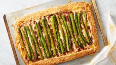 Asparagus Tart - Betty Crocker - easy but impressive, this cheesy rustic tart topped with prosciutto and asparagus spears will make you look like a pro, but only we'll know that anyone can make it. Asparagus Tart, Asparagus Dishes, Asparagus Spears, Strudel, Vegetable Sides, Vegetable Recipes, Appetizer Recipes, Appetizers, Brunch Recipes